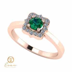 Inel de logodna din aur cu smarald diamante ES77