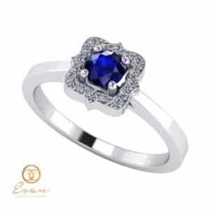 Inel de logodna din aur cu safir si diamante ES77