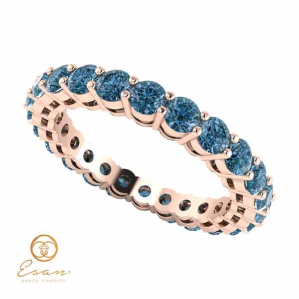Inel de logodna din aur cu diamante albastre ES65