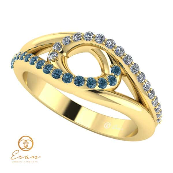 Inel de logodna din aur cu diamante albastre si diamante ES115