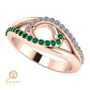 Inel din aur cu diamante si smaralde ES115