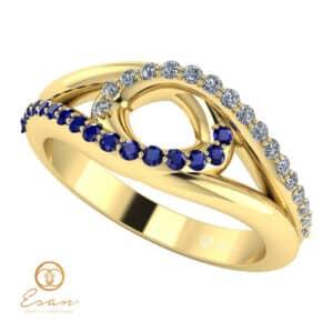 Inel din aur cu safire si diamante ES115