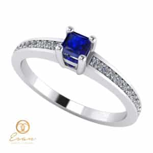 Inel de logodna din aur cu safir si diamante ES116