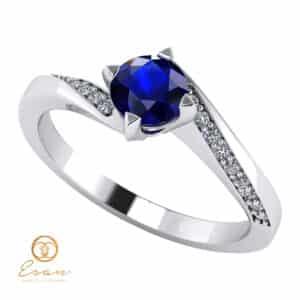 Inel de logodna din aur cu safir si diamante ES117