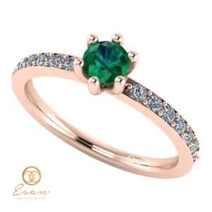 Inel de logodna din aur cu smarald si diamante ES118