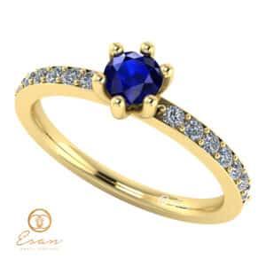 Inel de logodna din aur cu safir si diamante ES118