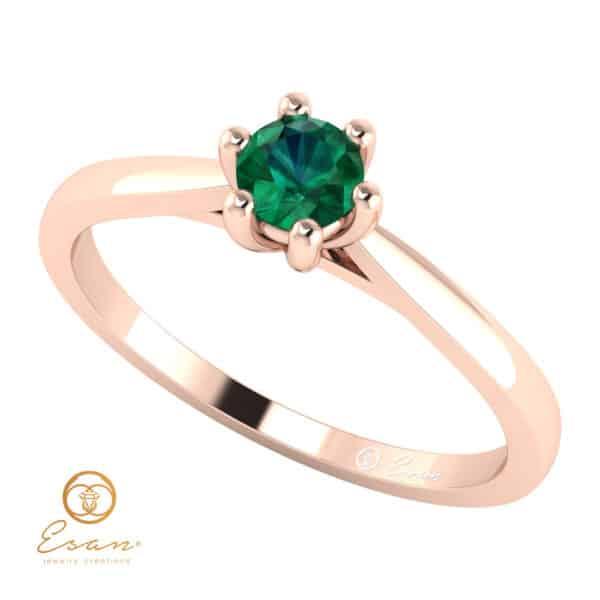 Inel de logodna din aur cu smarald ES23