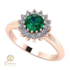 Inel de logodna din aur cu smarald diamante ES67