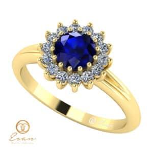 Inel de logodna din aur cu safir si diamante ES67
