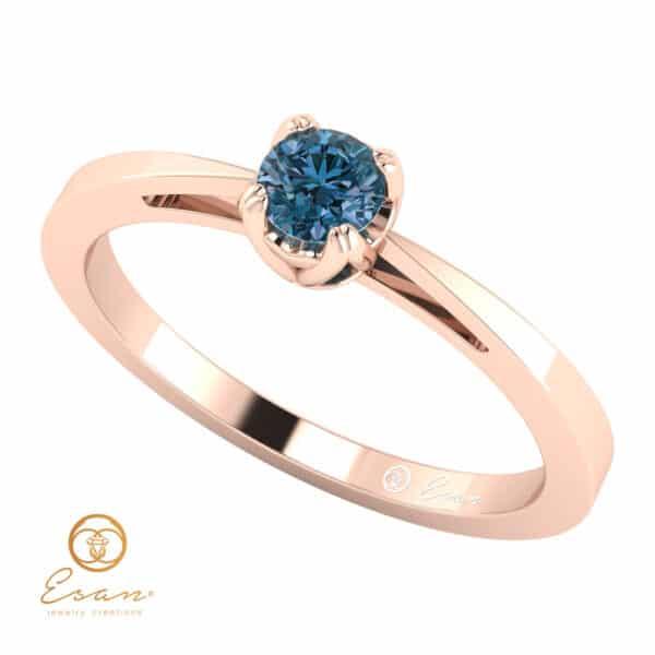 Inel de logodna din aur cu diamant albastru ES24