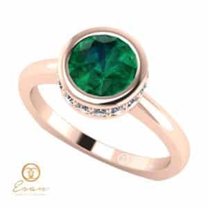Inel de logodna din aur cu smarald diamante ES69