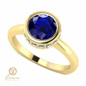 Inel de logodna din aur cu safir si diamante ES69