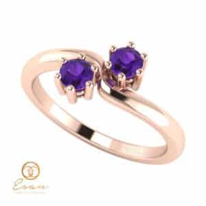 Inel de logodna din aur cu ametiste ES84