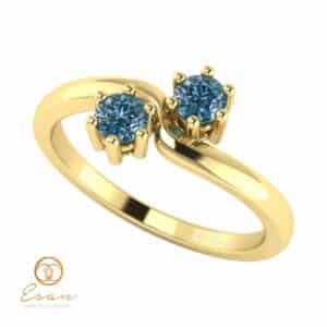 Inel de logodna din aur cu diamante albastre ES84