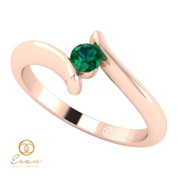 Inel de logodna din aur cu smarald ES32