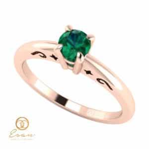 Inel de logodna din aur cu smarald ES43