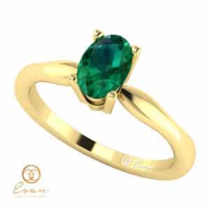 Inel de logodna din aur cu smarald ES45
