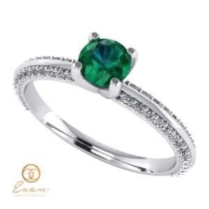 Inel de logodna din aur cu smarald si diamante ES110