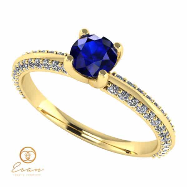 Inel de logodna din aur cu safir si diamante ES110