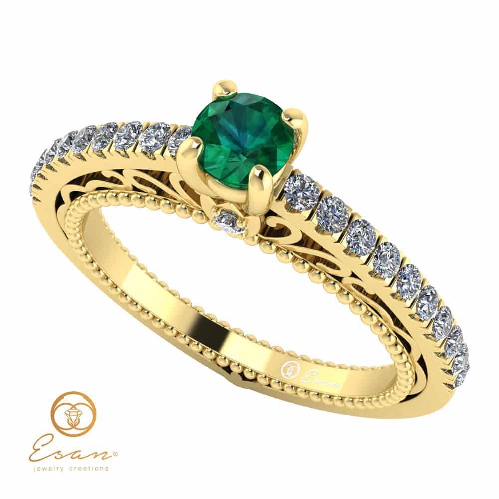 Inel de logodna din aur cu smarald si diamante ES90