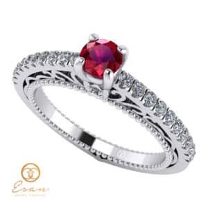 Inel de logodna din aur cu rubin si diamante ES90