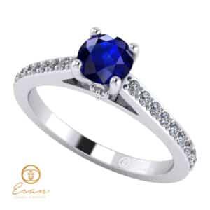 Inel de logodna din aur cu safir si diamante ES89