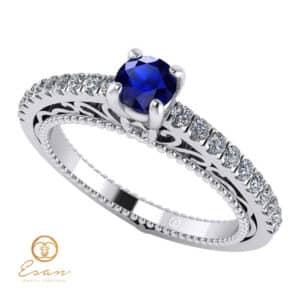 Inel de logodna din aur cu safir si diamante ES90