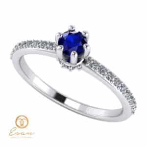Inel de logodna din aur cu safir si diamante ES91