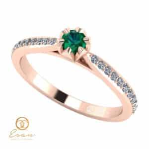 Inel de logodna din aur cu smarald si diamante ES92