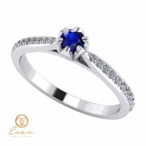 Inel de logodna din aur cu safir si diamante ES92