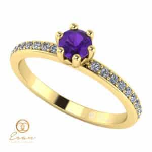 Inel de logodna din aur cu ametist si diamante ES93