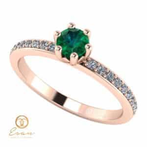 Inel de logodna din aur cu smarald si diamante ES93