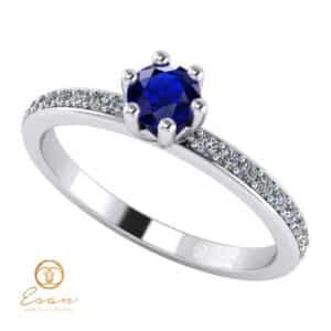 Inel de logodna din aur cu safir si diamante ES93