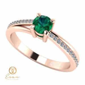 Inel de logodna din aur cu smarald si diamante ES94