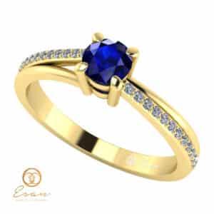 Inel de logodna din aur cu safir si diamante ES94