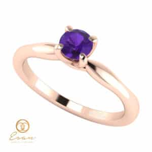 Inel de logodna din aur cu ametist ES48