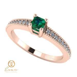 Inel de logodna din aur cu smarald si diamante ES95