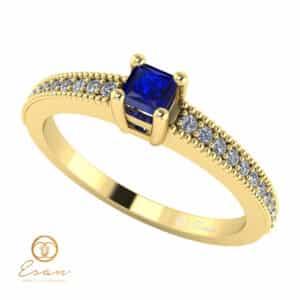 Inel de logodna din aur cu safir si diamante ES95