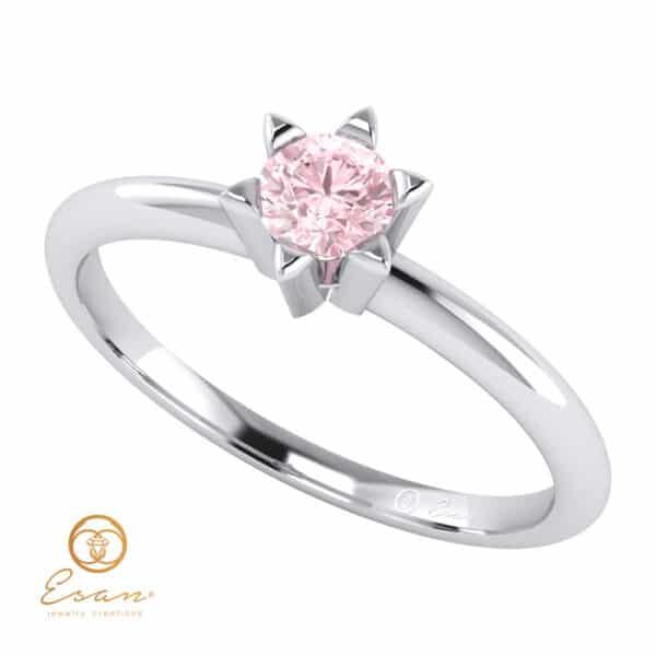Inel de logodna din aur cu diamant roz solitaire ES51