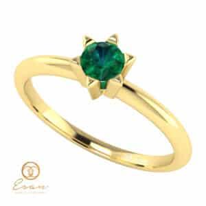Inel de logodna din aur cu smarald ES51