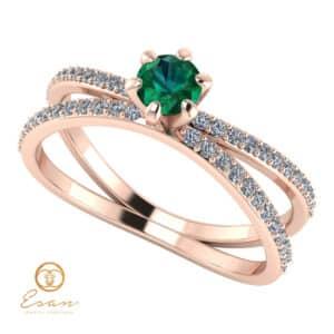 Inel de logodna din aur cu smarald si diamante ES96