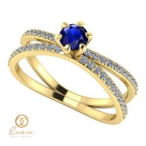 Inel de logodna din aur cu safir si diamante ES96