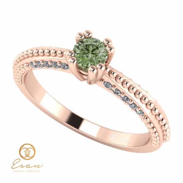 Inel din aur cu diamant verde si diamante incolore ES98