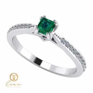 Inel de logodna din aur cu smarald si diamante ES99