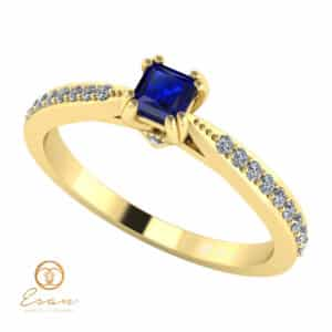 Inel de logodna din aur cu safir si diamante ES99