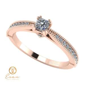 Inel de logodna din aur cu diamante incolore ES97