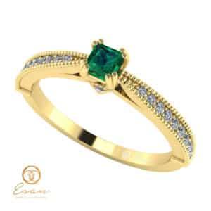Inel de logodna din aur cu smarald si diamante ES97