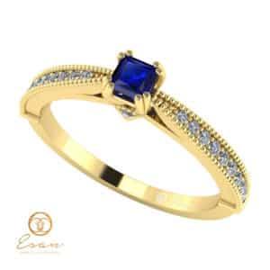 Inel de logodna din aur cu safir si diamante ES97