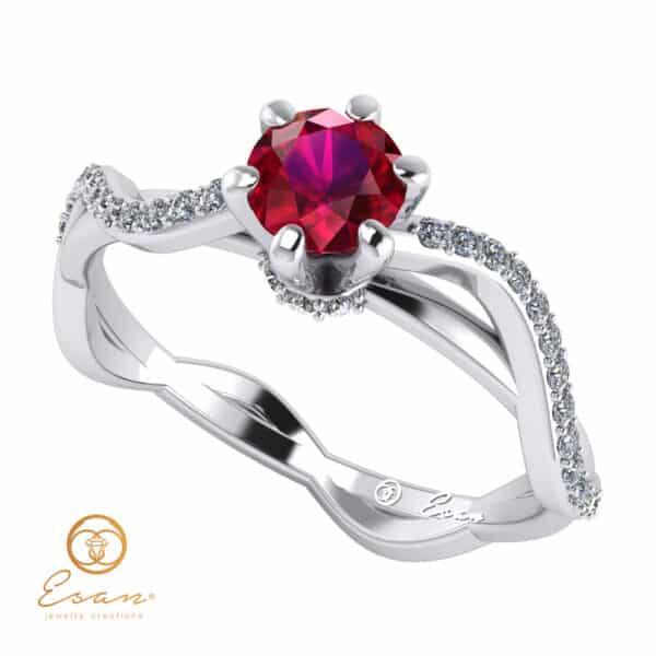Inel de logodna din aur cu rubin si diamante ES86