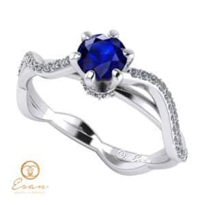 Inel de logodna din aur cu safir si diamante ES86